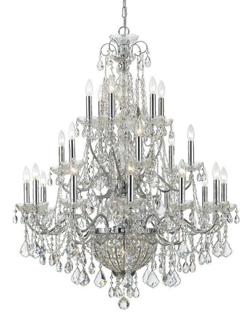 Crystorama Solid Brass Crystal Chandelier Accented with Hand Cut Crystal 24 Lights - Polished Chrome - 3229-CH-CL-MWP - PeazzLighting