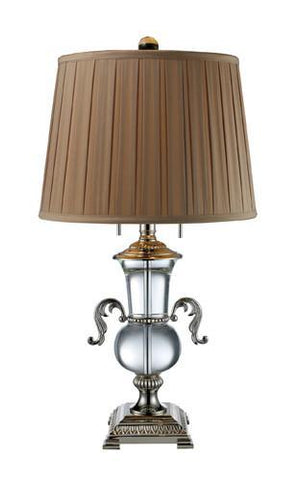 Dimond D1810 Raven 2 Light Table Lamp In Clear Crystal And Polished Nickel With Taupe White Faux Silk Shade And Cream Liner, Solid Brass Construction - PeazzLighting