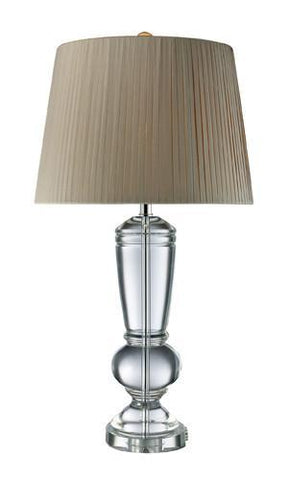 Dimond D1811 Castlebridge Table Lamp In Clear Crystal With Light Grey Faux Silk Shade And Off-White Liner - PeazzLighting