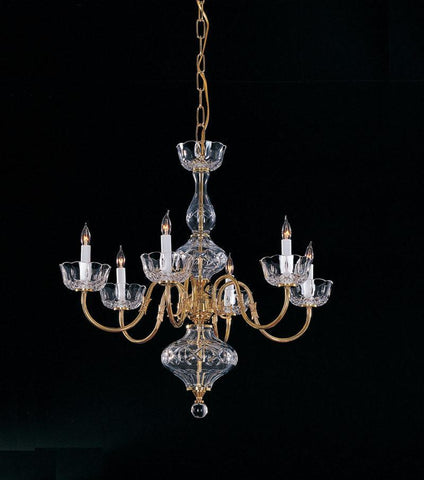 Crystorama 4206-PB 6-Lights Traditional Brass Chandelier Accented W/ Cut Crystal Components - Polished Brass - PeazzLighting