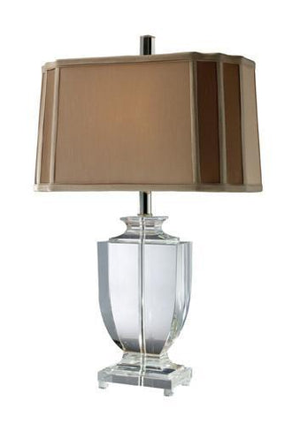 Dimond D1814 Layfette Table Lamp In Clear Crystal With Cream And Taupe Faux Silk Shade And Light Taupe Liner - PeazzLighting