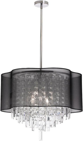 Dainolite 4 Lite Polished Chrome Crystal Pendant With Black Laminated Organza Shade ILL-206C-PC-815 - PeazzLighting