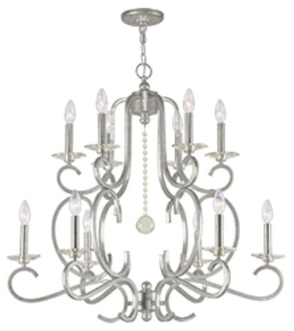 Crystorama The transitional Olde Silver finish from Crystorama's Orleans Collection uses a 24% lead crystal candle cup. 12 Lights - Olde Silver - 9349-OS - PeazzLighting