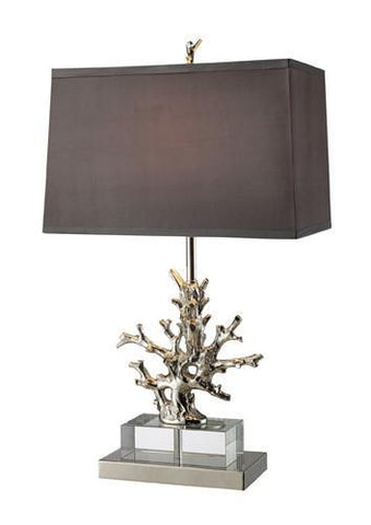 Dimond D1867 Covington Table Lamp In Polished Nickel And Clear Crystal With Grey Shade And Light Silver Liner, Solid Brass Construction - PeazzLighting