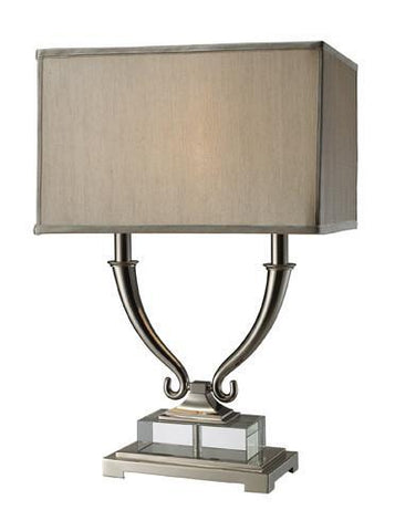 Dimond D1873 Roberts 2 Light Table Lamp In Polished Nickel And Clear Crystal With Grey Shade And Grey Liner - PeazzLighting