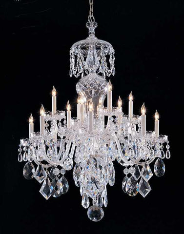 Crystorama 1048-CH-CL-MWP Traditional Crystal 16 Light Clear Crystal Chrome Chandelier - PeazzLighting