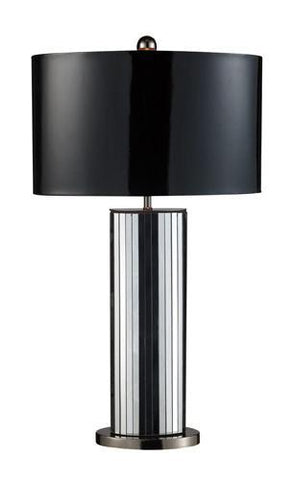 Dimond D1893 Shreve Table Lamp In Mirror And Black Nickel With Oval Black Patent Shade And Silver Liner - PeazzLighting