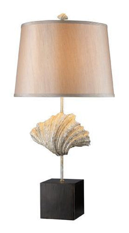Dimond D1976 Edgewater Table Lamp In Oyster Shell And Dark Bronze With Light Gold Faux Silk Shade And Cream Liner - PeazzLighting