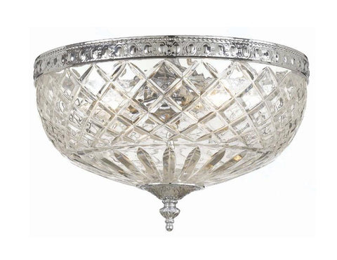 Crystorama 117-10-CH 2-Lights 24% Lead Crystal Flush Mount - Polished Chrome - PeazzLighting