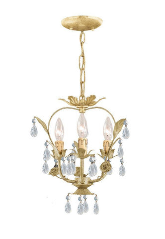 Crystorama Paris Flea Market Handpainted Wrought Iron Floral Mini Chandelier 3 Lights - Champagne - 5823-CM - PeazzLighting