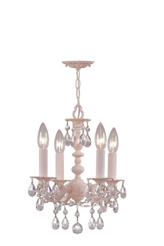 Crystorama Paris Flea Market Blush finish Chandelier Adorned with clear Hand Cut Crystal 4 Lights - Blush - 5514-BH-CL-MWP - PeazzLighting