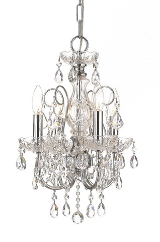 Crystorama Solid Brass Crystal Chandelier Accented with Swarovski Spectra Crystal 4 Lights - Polished Chrome - 3224-CH-CL-SAQ - PeazzLighting
