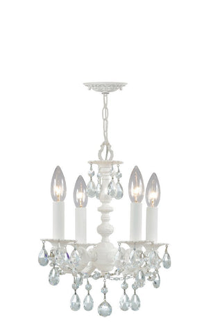 Crystorama Paris Flea Market Mini Chandelier, Wet White finish, Adorned with Crystal accents 4 Lights - Wet White - 5514-WW-CL-MWP - PeazzLighting