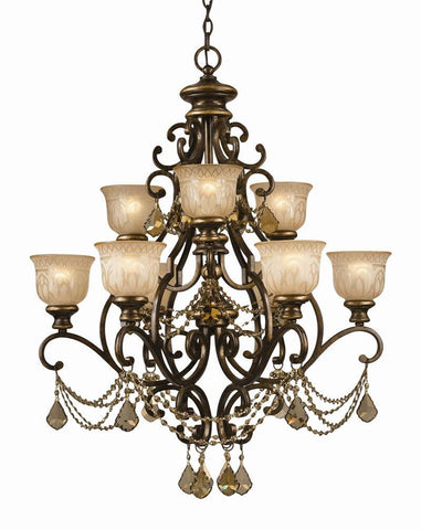 Crystorama Golden Teak Crystal Draped on a Wrought Iron Chandelier Handpainted with a Amber Glass Pattern 6 Lights - Bronze Umber - 7509-BU-GT-MWP - PeazzLighting