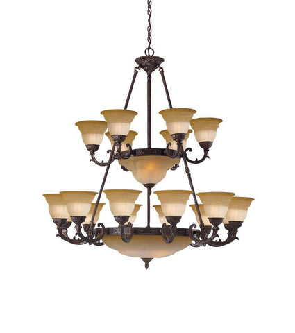 Crystorama Semi Flush Mount Amber Glass Combined with Solid Brass Ornamentation 12 Lights - Venetian Bronze - 6300-42-A-VB - PeazzLighting