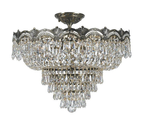 Crystorama 1485-HB-CL-MWP 5-Lights Sold Cast Brass Ornate Crystal Semi-Flush Mount - Historic Brass - PeazzLighting