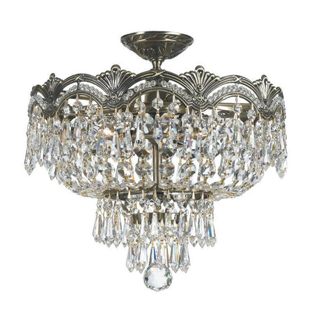 Crystorama 1483-HB-CL-MWP 3-Lights Sold Cast Brass Ornate Crystal Semi-Flush Mount - Historic Brass - PeazzLighting