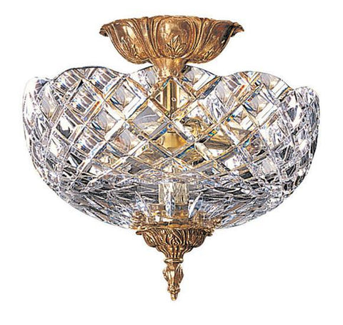 Crystorama 67-CT-OB 2-Lights 24% Lead Crystal Cast Brass Semi-Flush Mount - Olde Brass - PeazzLighting