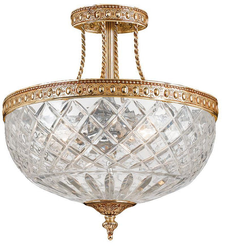 Crystorama 118-12-OB 3-Lights 24% Lead Crystal Semi-Flush Mount - Olde Brass - PeazzLighting
