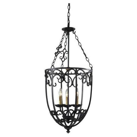 Z-Lite Spanish Forge Collection Black/Antique Gold Finish Five Light Cage Pendant - ZLiteStore