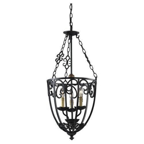Z-Lite Spanish Forge Collection Black/Antique Gold Finish Four Light Cage Pendant - ZLiteStore