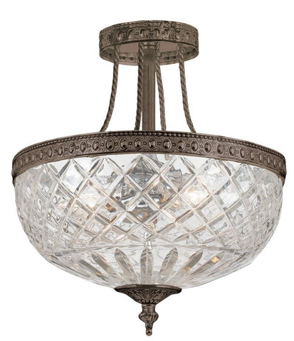 Crystorama 118-12-EB 3-Lights 24% Lead Crystal Semi-Flush Mount - English Bronze - PeazzLighting