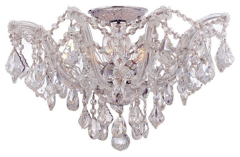 Crystorama 4437-CH-CL-SAQ 5-Lights Maria Theresa Semi Flush Mount Draped In Clear Swarovski Spectra Crystal - Polished Chrome - PeazzLighting