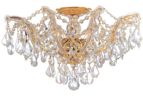 Crystorama 4437-GD-CL-S 5-Lights Maria Theresa Semi Flush Mount Draped In Clear Swarovski Elements Crystal - Polished Gold - PeazzLighting