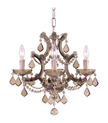 Crystorama Maria Theresa Chandelier Draped in Golden Teak Swarovski Elements Crystal 4 Lights - Antique Brass - 4474-AB-GTS - PeazzLighting