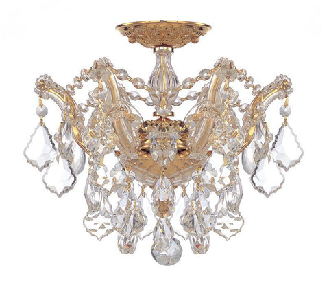 Crystorama 4430-GD-CL-SAQ 3-Lights Maria Theresa Semi Flush Mount Draped In Clear Swarovski Spectra Crystal - Polished Gold - PeazzLighting