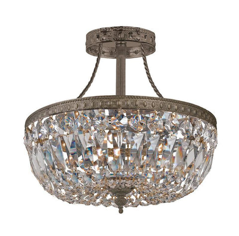 Crystorama 119-10-EB-CL-SAQ 3-Lights Swarovski Spectra Semi Flush Crystal Basket - English Bronze - PeazzLighting