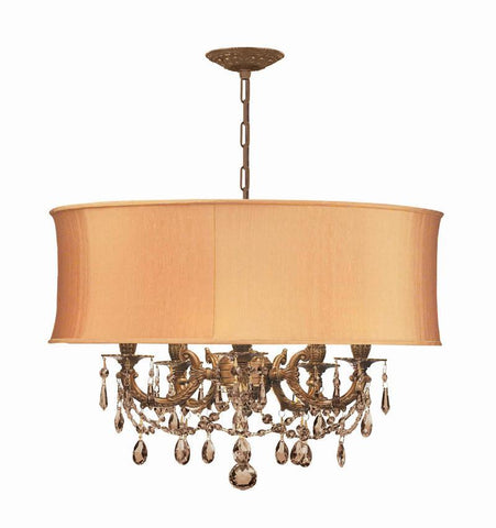 Crystorama Ornate Casted Aged Brass Chandelier with Golden Teak Swarovski Elements Crystal and a Harvest Gold Shade 5 Lights - Aged Brass - 5535-AG-SHG-GTS - PeazzLighting