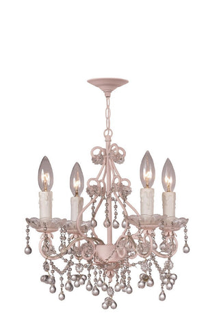 Crystorama Paris Flea Market Mini Chandelier Adorned with CLEAR Murano Crystal 4 Lights - Birch - 4514-BH-CL - PeazzLighting