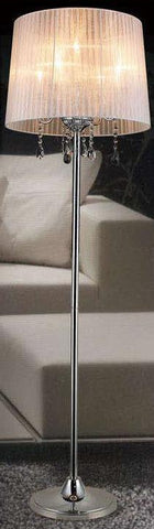 "Gen-Lite 101439W 65"" Five Light Floor Lamp Chrome Finish White Sheer Shade - PeazzLighting"