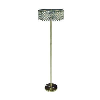 Gen-Lite 104331AG Three Light Antique Gold Floor Lamp With Crystals - PeazzLighting