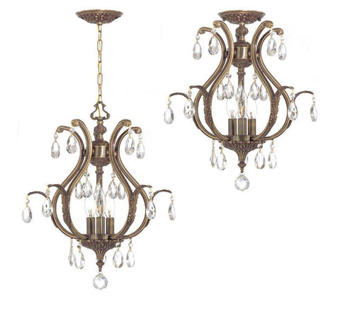 Crystorama Clear Hand Cut Crystal Chandelier 3 Lights - Antique Brass - 5560-AB-CL-MWP - PeazzLighting