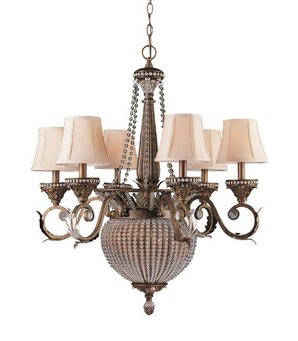 Crystorama Roosevelt Chandelier Draped with Clear Crystal Beads 6 Lights - Weathered Patina - 6726-WP - PeazzLighting