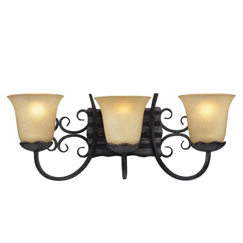 Z-Lite Spanish Forge Collection Black/Antique Gold Finish Three Light Vanity - ZLiteStore