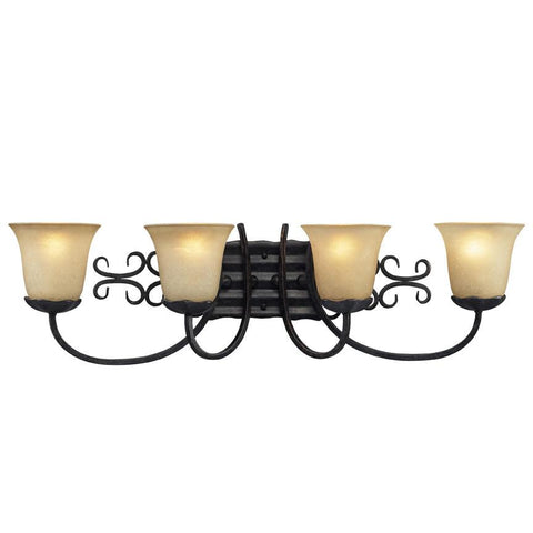 Z-Lite Spanish Forge Collection Black/Antique Gold Finish Four Light Vanity - ZLiteStore