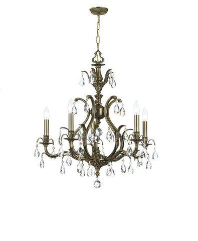 Crystorama Clear Hand Cut Crystal Chandelier 5 Lights - Antique Brass - 5565-AB-CL-MWP - PeazzLighting
