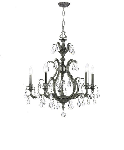 Crystorama Clear Hand Cut Crystal Chandelier 5 Lights - Pewter - 5565-PW-CL-MWP - PeazzLighting