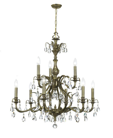 Crystorama Clear Hand Cut Crystal Chandelier 9 Lights - Antique Brass - 5569-AB-CL-MWP - PeazzLighting