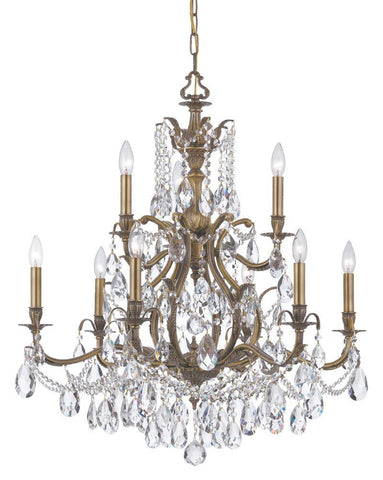 Crystorama Swarovski Elements Chandelier 6 Lights - Antique Brass - 5579-AB-CL-S - PeazzLighting