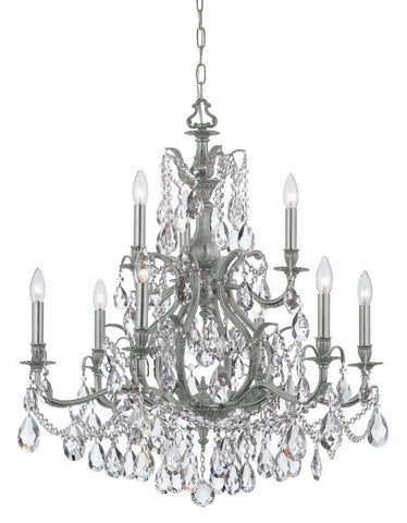 Crystorama Clear Hand Cut Crystal Chandelier 6 Lights - Pewter - 5579-PW-CL-MWP - PeazzLighting