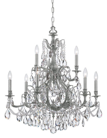 Crystorama Swarovski Elements Chandelier 6 Lights - Pewter - 5579-PW-CL-S - PeazzLighting