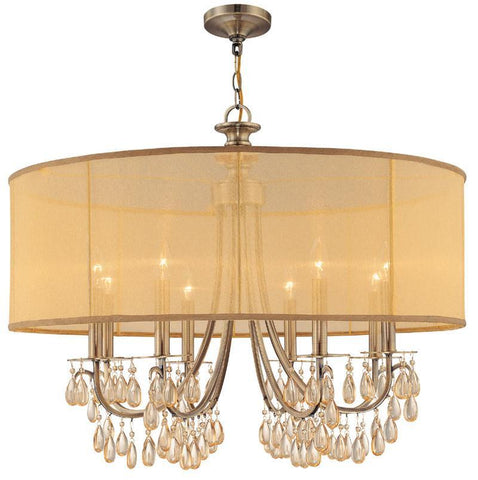 Crystorama Antique Brass Chandelier Accented with Etruscan Smooth Oyster crystals and Gold Silk Shimmer Shade 8 Lights - Antique Brass - 5628-AB - PeazzLighting
