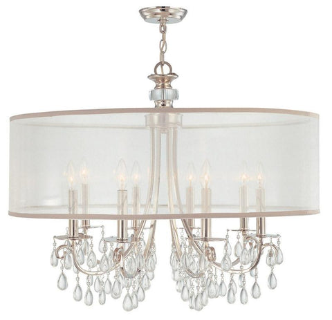 Crystorama Polished Chrome Chandelier Draped with Oyster Crystal Accented with a Silk Shade 8 Lights - Polished Chrome - 5628-CH - PeazzLighting