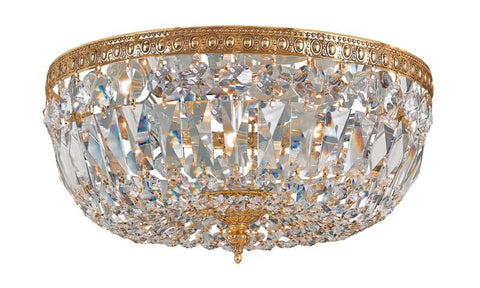 Crystorama 714-OB-CL-S 3-Lights Swarovski Elements Crystal Basket - Olde Brass - PeazzLighting
