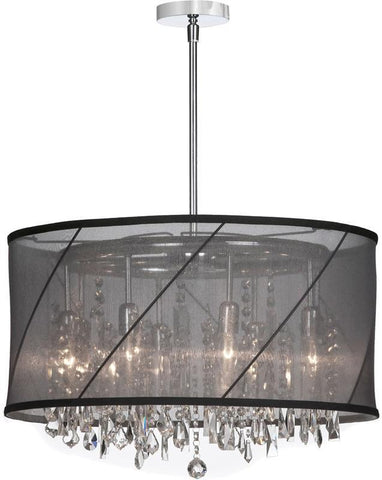 Dainolite 8 Lite  Polished Chrome Crystal Pendant With Black/Silver Swirl Shade SAF-22-8-1514 - PeazzLighting