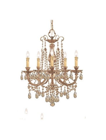 Crystorama Ornate Cast Brass Chandelier Accented with Golden Teak Wood Polished Crystal 5 Lights - Olde Brass - 475-OB-GT-MWP - PeazzLighting